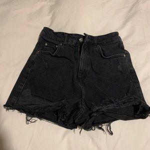TOPSHOP moto mom black denim shorts
